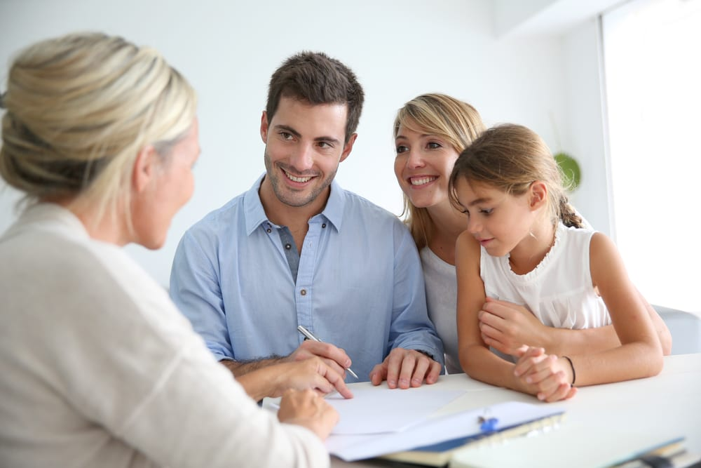 family meeting with loan officer and reviewing papers