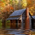 Flooded Cabin Home in Fall